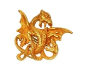 30% Off Winter Sale Antique gold griffin Late Victorian scarf clip or button clip