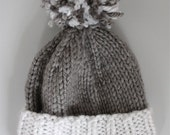 Hat Knitting Pattern- Colorblock Beanie Pom Hat (toddler, child, teen, adult sizes)