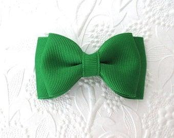"Baby Hair Bow ~ Christmas Emerald Green 3"" Toddler Boutique Hair Bow Clip ~ Christmas Hair Bow Clip"