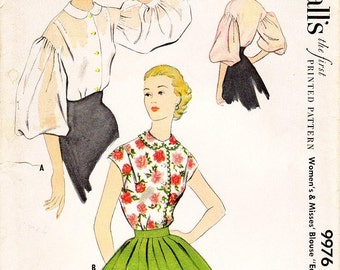 SZ 16/Bust 34 - Vintage 1950s Blouse Pattern - McCall's 9976 -  Misses' Balloon Sleeve or Cap Sleeve Blouse with Peter Pan Collar