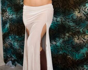 Ready-to-ship XS/Small - Off-white Velvet Mermaid Skirt - Two Slit white fitted skirt Tribal Fusion Bellydance Skirt, burlesque