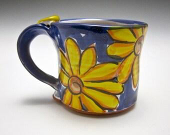 Small Pottery Coffee Mug - Gift for Her - Petite Ceramic Coffee Mug - Clay Mug - Tea Cup - Yellow Daisy Flower - Majolica - Blue - 8 ounces