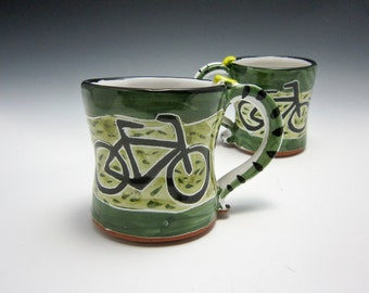 Medium Ceramic Coffee Mug - Bicycle Bike - Pottery Mug - Gift for Her - Coffee Cup - Olive Green - Majolica - 12 oz ounce Mug - Gift for Him