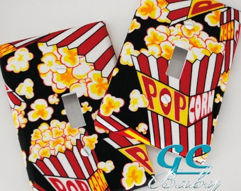 Popcorn Light Switch & Outlet Covers - Decor for Theater or Movie Room in Red Yellow Black White