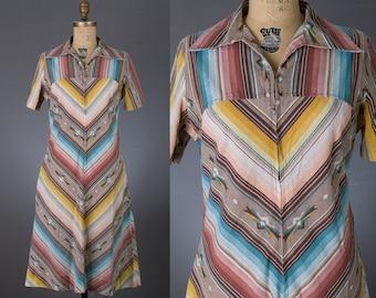 vintage 1970s southwest striped dress