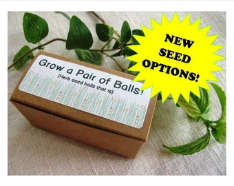 READY TO SHIP- Grow a pair of balls- gag gift- herb seed balls- 7 different seed combinations to choose from
