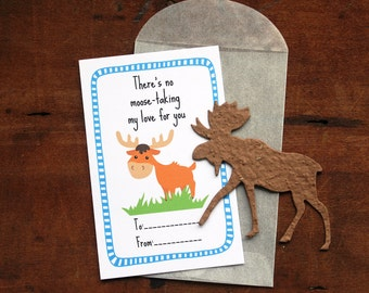 Moose Valentines- SET OF 8 - includes color printed card, seed paper, and glassine envelope- choose from 16 seed paper colors