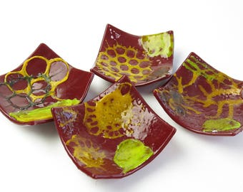Marine Microfauna Set of Four Fused Glass Dishes