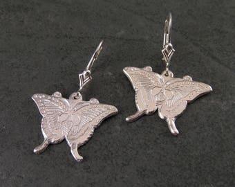 Fine silver butterfly earrings, handmade recycled silver jewelry-OOAK