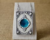 Vintage Frame Porcelain Pendant, Glassy Blue, by Mrs Peterson Pottery