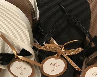 Flip Flop Favor Tags for your Party, Shower, and Wedding Reception Favors Tags in a Round Layered Design Printed with Shoe Sizes
