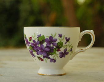 Vintage Violet Print Queen Anne Teacup/Ridgeway Potteries England/Shabby Chic/Victorian/Afternoon Tea/Farmhouse Decor