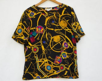 Vintage 90s Spenser Jeremy Silk Blouse Top/Equestrian Print/High Fashion