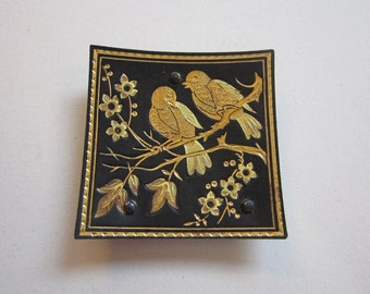 vintage damascene style ring dish - birds - gold on black, 1.75 inches