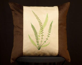 New Embroidered Brown Fern Pillow New 16 x 16 Insert — Item 259