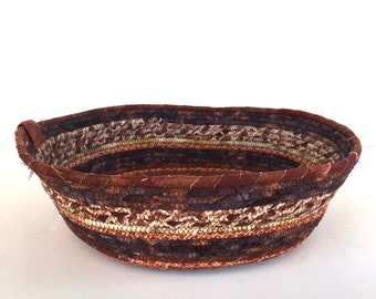 Cat Basket - Rope Coiled Basket - Brown Bowl - Rag Gift Basket