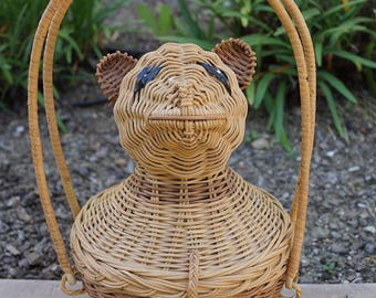 Vintage 50s Wicker Animal Purse / Figural Wicker Teddy Bear Handbag / Rare Collectible Novelty Straw Panda Purse / Wicker Novelty Bear Purse
