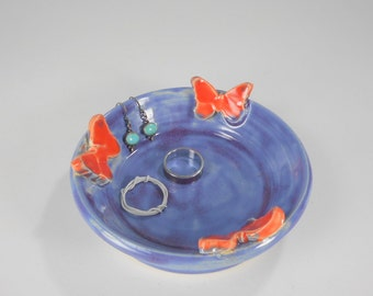 Pottery ring saucer with orange butterflies, ceramic jewelry holder dish, ring catcher, stoneware pottery trinket bowl, jewelry holder dish