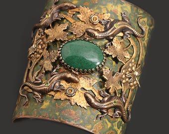 Large Cuff Bracelet Lizard Bracelet Dragon Cuff Bracelet Art Nouveau Bracelet