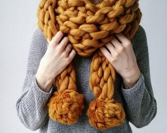 Knit Scarf Chunky Triangle PomPom Snood