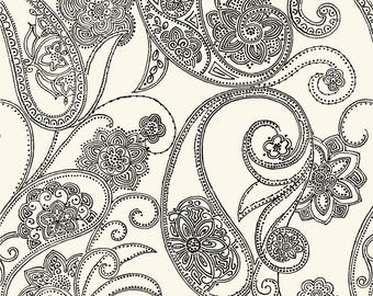 CO2027 Candice Olson Black and Cream Dotted Paisley Wallpaper