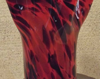 Red Black Art Glass Vase