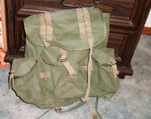 Vintage Green Canvas Army Backpack, Good, Intact Condition, 15 x 18 Inches