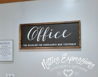 rustic office decor. office sign 12x30 framed wood signdeadline for complaintsoffice signwooden rustic decor d