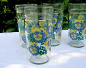 Pansy Jelly Jar Glass Tumblers Vintage Anchor Hocking - Set of 4 Yellow Purple Floral Pansies Water Drinking Peanut Butter Glasses Drinkware