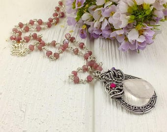 Wire wraped necklace, pastel pink pendant, long silver necklace, gemstone jewelry