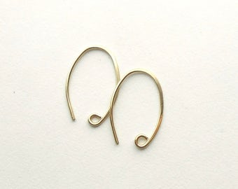 Small Gold Filled Ear Wires, Oval Ear Hooks, Two or More Pair