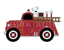 ON SALE Vintage Fire Truck with Dalmatian Cute Digital Clipart, Fire Truck Clip art, Firetruck Graphic, Fire Truck with Dalmatian Illustrati