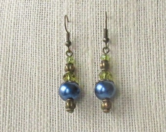 Navy Blue Glass Pearl Vintage Style Earrings