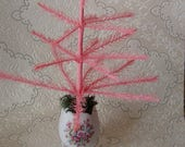 pink feather tree spring table decorations centerpeice shabby chic cottage easter kitchen home decor tabletop tree