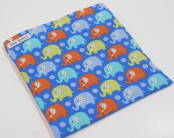 Reusable Sandwich Bag or Reusable Snack Bag Elephant Snack Sandwich Bag