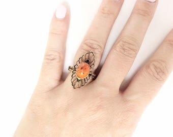 Orange Cabochon ring adjustable size gold tone vintage cocktail ring marked Spain