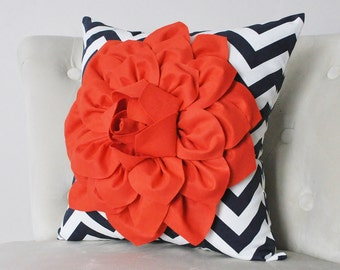 Coral Dahlia on Navy and White Zigzag Pillow -Chevron Pillow- 18 x 18