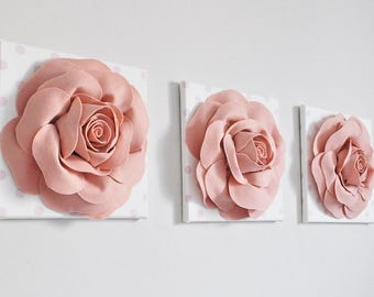 Blush Pink Rose Wall Hangings, Set of Three, Nursery Decor, Girls room, Pink Polka Dot, Flower wall hanging, wall art, Spring Wall Art Decor