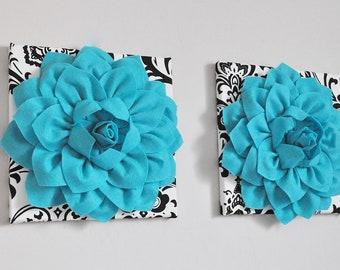 Turquoise Blue Abstract Art 3D Flower Wall Print, Garden Art, Black and White Damask art, turquoise art, teal modern home, nursery decor art