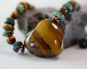 Heart Tigers Eye & Turquoise Necklace Boho Tigers Eye Heart Necklace Green Stone Necklace Gemstone Brown Leather Cord Antique Brass Gift