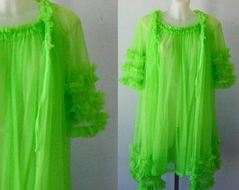 Vintage Chiffon Peignoir Set, Green Peignoir Set, 1960s Peignoir Set, 1960 Lingerie, Vintage Lingerie, Nightgown Robe Set
