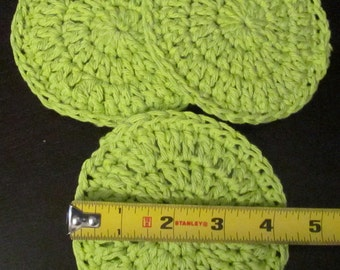 """Cotton Scrubbies ~ 4 1/4"""" in diameter ~ double thickness ~ set of 3"""