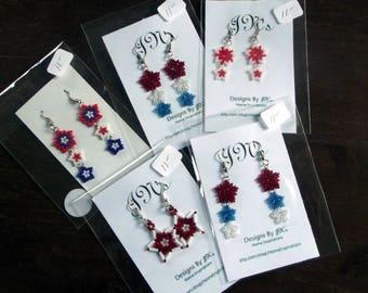 Stars Stars Stars Earrings, Red White and Blue Stars Earrings, Red and White Stars Earrings, 4th of July