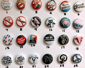 Feminist anti trump Pick-a-mix pin set of 10