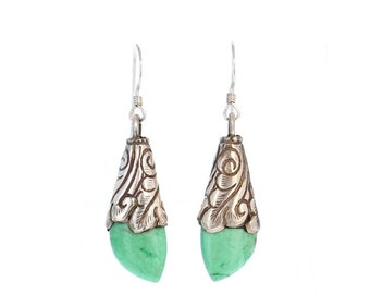 VARISCITE STERLING EARRINGS Teardrops Tibetan Style Small NewWorldGems
