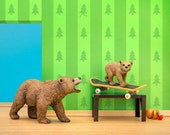 Woodland animals grizzly bear and cub skateboard diorama art print: Don't Mess With The Bear