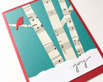 Winter Birch Trees - Christmas Card - Handmade Card - Holiday Greeting Card - forest, red bird, vintage music, snow