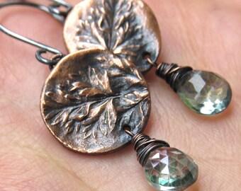 Fern Earrings, Copper Earrings, Naturelover Earrings, Gemstone Earrings, Rustic Earrings, Leaf Earrings, Organic Earrings, Gift for her