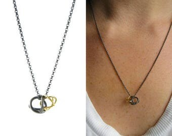 Double Gyroscope necklace   time turner necklace   recycled gold oxidized silver   mixed metal necklace   time turner gold   Gyroscopes