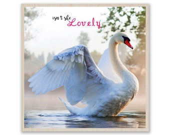 "Swan with Quote ""isn't she lovely""Print on Wood- Photo on Birch Wood, Print on Plywood, Custom Wood Prints, Custom Photo Prints W015"